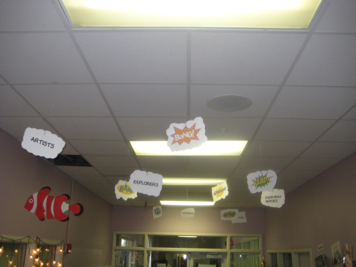 Reading Heroes words hanging from the ceiling