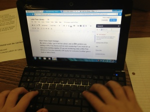 5th graders used the Google Research tool in Google Docs to look for reading statistics