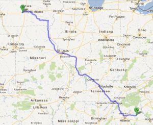 983 miles to Van Meter