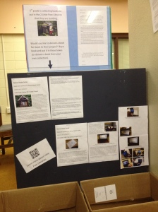 A display is ready to inform shoppers at our book fair about our Little Free Library project