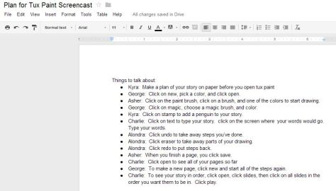 Our Google doc captured what students would talk about on the screencast.