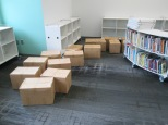 Boxes lined and ready to unpack