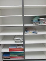 Storage closets in the workroom