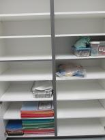 Storage closets in the workroom