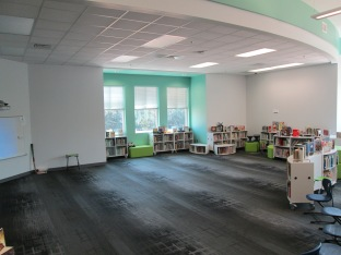 Our bookshelves and furniture easily moved out of the way to make room for over 150 4th & 5th graders