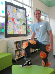 Mr. Plemmons with pumpkin dots, converse dot, and Scaredy Squirrel dot.