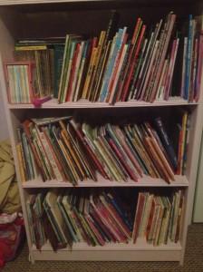 Alora's bookshelf, age 4