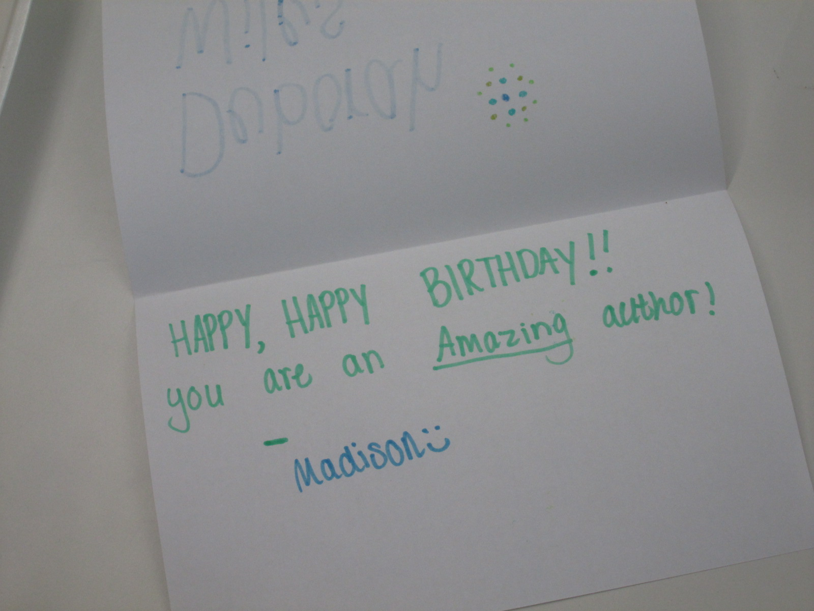 Fifth Grade Battle of the Books Had a Visit with Deborah Wiles – Signing a Birthday Card