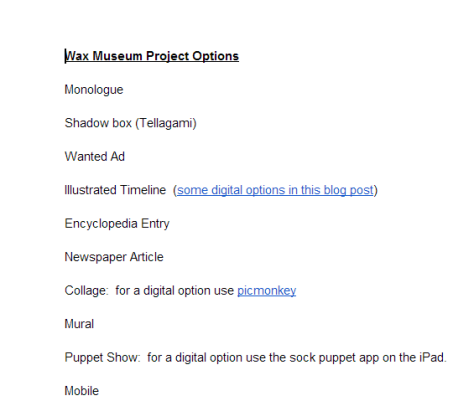 Wax Museum Project Options   Google Docs
