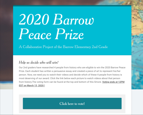2020 Barrow Peace Prize Smore Newsletters for Education